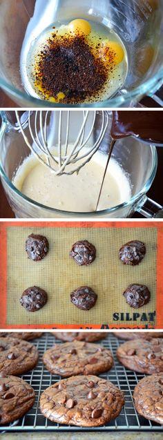 Chocolate Chip Brownie Cookies from justataste.com #recipe #cookies