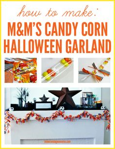 How to Make a Halloween Garland -- using m & m's Candy Corn candies #halloween #diy #craft