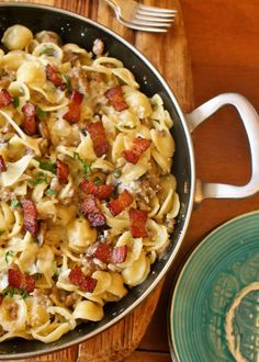 Sausage Mushroom and Bacon Pasta #SundaySupper