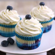Blueberry Cupcakes with Lime Cream Cheese Frosting