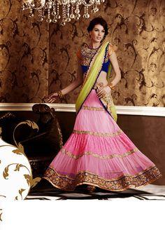 USD 162.64 Pink Net Embroidered Wedding Lehenga Saree   33718