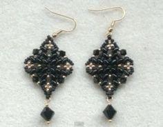 shape black, black superduo, diamonds, bead earring, earring bead, diamond shape, beading tutorials, superduo earring, diy earrings