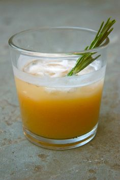 Spiced Pear Collins: gin, lemon, pear puree, and a rosemary-and-clove-infused simple syrup