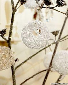 yarn and glitter decorations