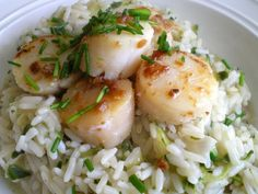 Champagne Cucumber Risotto with Pan Seared Scallops