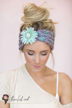 Mint Knitted Headband Cute Hair Bands  Boho Ear by ThreeBirdNest, $38.00