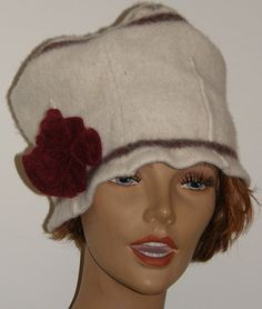 thick wool  felt hat woman Oat Meal Off white color with burgundy red wine cashmere flower upcycled wool by mcleodhandcraftgifts,