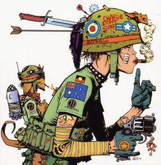 tankgirl, jamie hewlett, jami hewlett, comic books, tank girl, book week, design art, comics, tanks