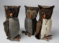 Kevin O'Brien Studios Stuffed Animals. The use of recycled materials, including woven jacquard patterns, printed cotton velvets, silk velvets, printed linens, and antique buttons for eyes.