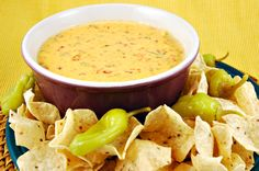 Sour cream, cheese, butter, shallots, garlic and jalapenos combine in this wonderfully rich and slightly spicy cheesey dip. Serve with tortilla chips or snack veggies. #Queso #Cheese #Dip