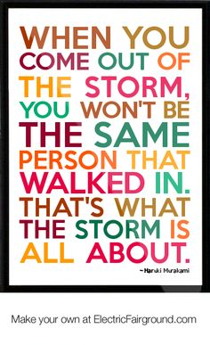 """""""When you come out of the storm, you won't be the same person that walked in. That's what the storm is all about."""" -- Haruki Murakami Framed Quote"""