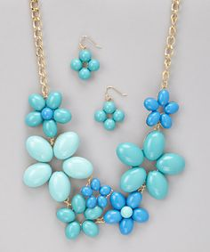 Blue Flower Blooming Necklace & Earrings