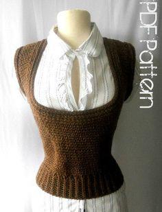 Crochet Vest Pattern-Scoop Neck Vest-Plus Size Clothing-PDF Pattern. $5.00, via Etsy.