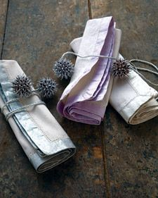 Pearlescent Painted Napkins As Well As Tied Up with Stars Napkin Rings How To