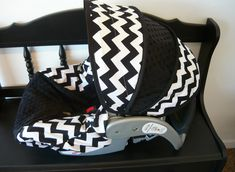 Black and White Chevron Infant Car Seat Cover. $65.00, via Etsy.