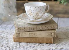 vintage books, tea time, bone china, reading books, tea cup, royal vale, vintage tea, teacup, old books
