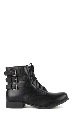 Deb Shops Combat Boot with 3 Buckles on Side and Lace Up Front $30.00
