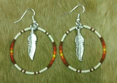 Beaded Native American Hoop Earrings by prettyuniquedesigns2,