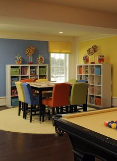 25 Adorable Kids Study Space Designs | Daily source for inspiration and fresh ideas on Architecture, Art and Design game rooms, famili, color, basement, family rooms, playroom, family games, game tables, kid