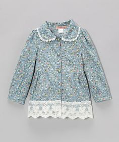 Blue Floral Lace Button-Up - Toddler & Girls by Paulinie #zulily #zulilyfinds