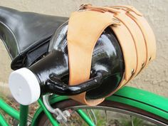 Leather Growler Carrier with Bicycle Straps / Made in USA / Cicada Leather Company