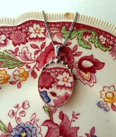 Broken china pendant necklace antique floral red English transferware broken china jewelry
