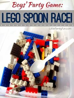Plastic spoons, Tupperware, and Lego bricks are all you need for this fun game. | How To Throw The Ultimate LEGO Birthday Party games for lego party, lego birthday party games, boy birthday games, lego party game, lego lego birthday, birthday party lego, lego birthday parties, plastic spoon, lego birthday games