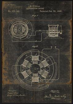 Tesla Alternating Motor. Patented February 25, 1896.