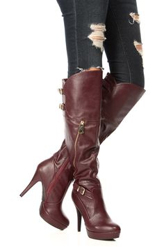 Wine Leather Boots