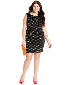 Soprano Plus Size Dress, Sleeveless Polka-Dot Peplum - Plus Size Dresses - Plus Sizes - Macy's