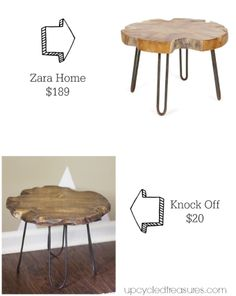 Check out this small rustic stool with DIY hairpin style legs.