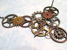 Steampunk Clockworks Asymmetrical Necklace by PhoenixEchoCreations, $30.00