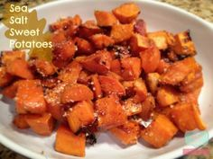 thanksgiving recipes on #FridayFoodFrenzy roasted maple sweet potatoes with sea salt