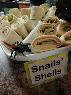 bug parti, snail shell, birthday parties, bug party food, bug themed food