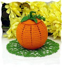 Pumpkin Fall Crochet Halloween Doily Handcrafted
