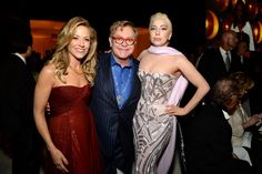 Three's company. GRAMMY winners Sheryl Crow, Elton John and Lady Gaga schmooze at the Elton John AIDS Foundation's 22nd Academy Awards Viewing Party on March 2 in West Hollywood, Calif.
