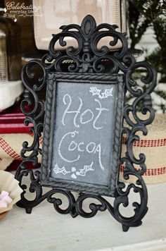 Hot Cocoa Chalk Sign, Front Porch Hot Cocoa Bar, Hot Chocolate Bar, Winter Party Idea, Christmas Party Idea