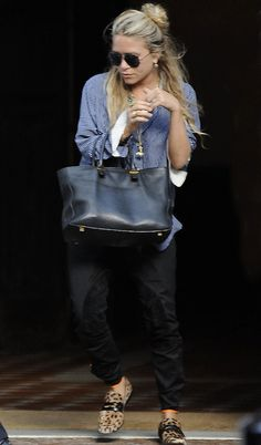 a supposed-to-be formal blue shirt + leopard loafers = the new theory #marykateolsen #fashion #style #candid #outfit