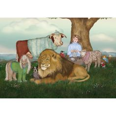 The Hand Knitted Peaceable Kingdom print by FullFrogMoon