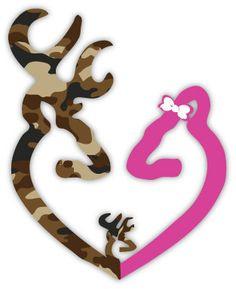 Browning Heart Buck Deer Baby Camo and Doe Pink by stickerscrate, $3.00