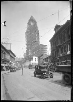 Los Angeles City Hall under construction in 1927. For decades no building in Los Angeles was allowed to exceed the height of City Hall and it was the tallest building in California from 1928-1964