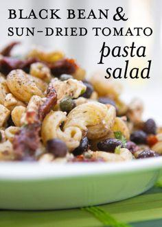 Black Bean Sun-Dried Tomato PastaSalad - pipandebby.com