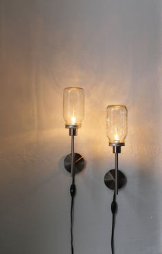2 Mason Jar Wall Sconces  Set of Two Lamps  by BootsNGus on Etsy, $75.00