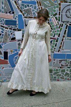 Antique Victorian Cotton Dress from Paris, 1860s. $800.00, via Etsy. victorian cotton, etsi, 1860s christma, pari, dresses, cotton dress, antiqu victorian, modest dress, antiques