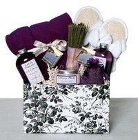 Spa gift basket, bubble bath, bath wash, candle, towel, slippers, lotion, etc.