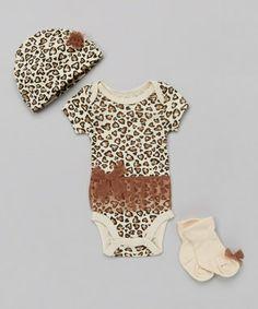 Tan & Brown Leopard Bodysuit Set