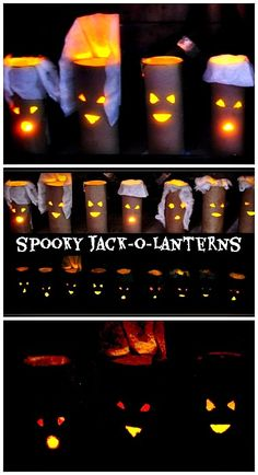 Fun and easy paper rolls jack-o-lanterns tutorial. #halloweencrafts