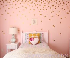 "Dots #walldecal in a metallic finish and placed like it is ""trickling"" down.  Simple to install or take down!  #kidsroomdecor"