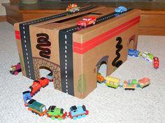 cardboard box train/road tracks