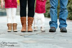 Family Photography Session by True Foundation Photography #family #photography #session #pose #feet #road #path #baby #little #girl #mom #dad #Christmas #red #picture #winter